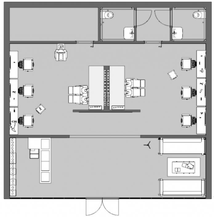 Bild, das die Anordnung des Friseursalons vor der Wiedereröffnung anzeigt