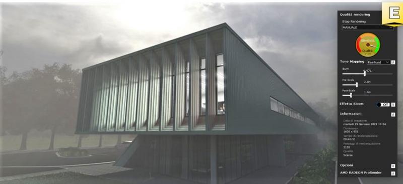 Darstellung eine Renderings von einem Gebäude das mit Edificius erstellt wurde