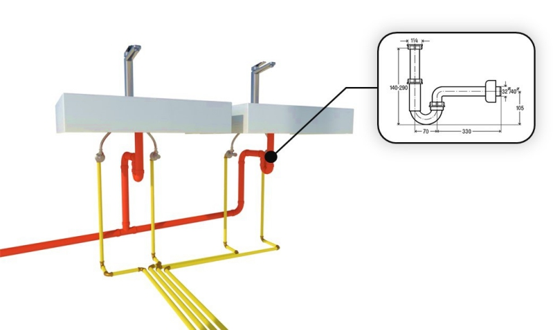 Zeichnung das ein Detail der Sanitäranlage darstellt