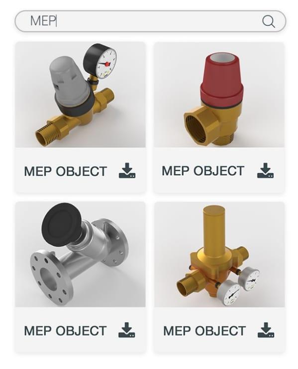 Abbildung von einigen MEP-Objkekten des Edificius-Katalogs