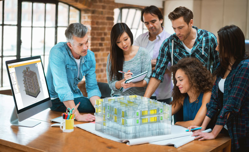 Bild mit Personen die an einem BIM-Modell zusammenarbeiten