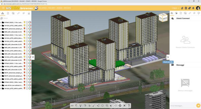Bild der Schnittstelle in usBIM.browser mit Liegenschaftenverwaltung