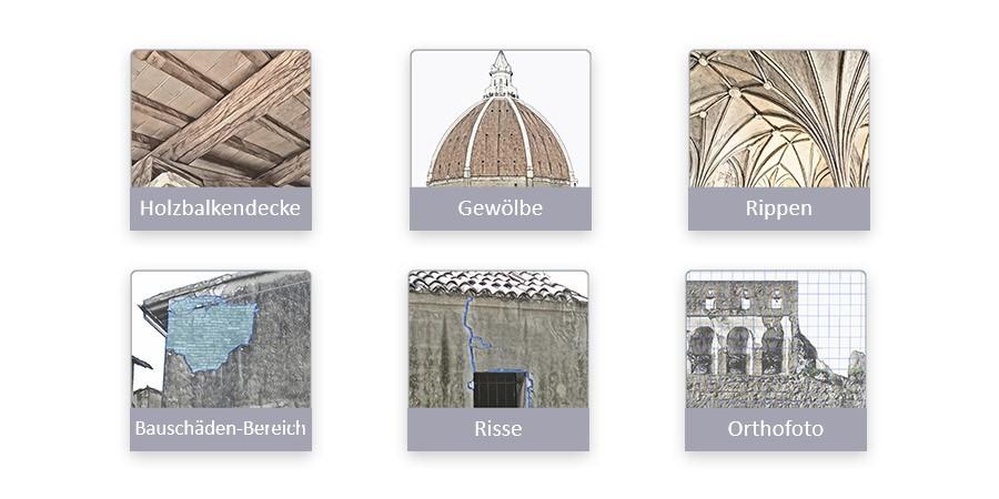 Bilder mit verschiedenen Objekten von HBIM in Edificius