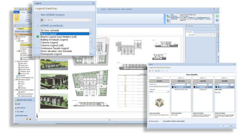 Darstellung der Tabellen und Legenden von Software Edificius BIM 3(e)
