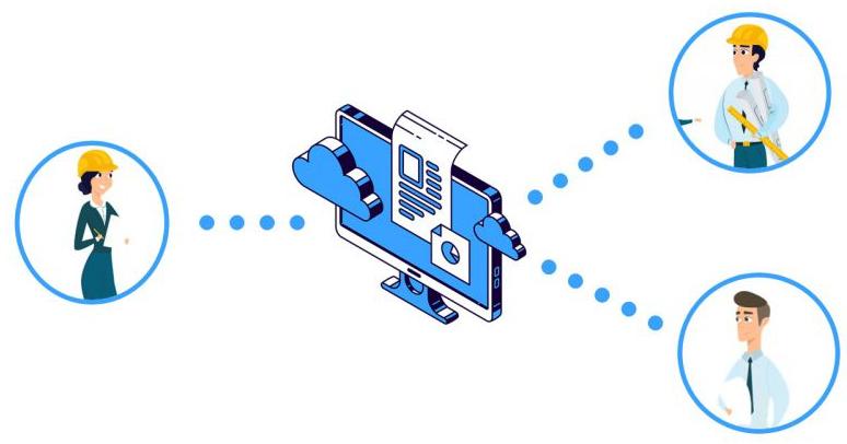 Bild eines Monitors mit Darstellung der Freigebung und Verwaltung von Dokumenten