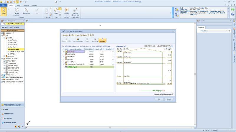 Schnittstelle der Software Edificius der Ebenen-Verwaltung