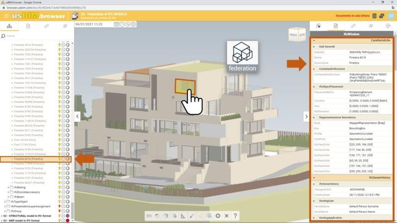 Schnittstelle der Software usBIM zum Föderieren von BIM-Modellen