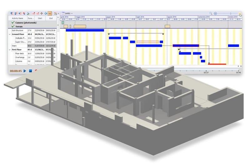 Bild eines 4D BIM-Modells mit verschiedenen Bauaktivitäten