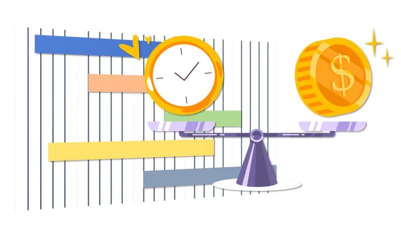 Bild, das den Zusammenhang zwischen Zeit, Kosten und Zeitplan darstellt