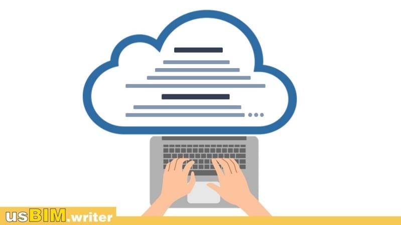 Schematische Darstellung, die zeigt, wie Sie mit usBIM.writer Dokumente online schreiben