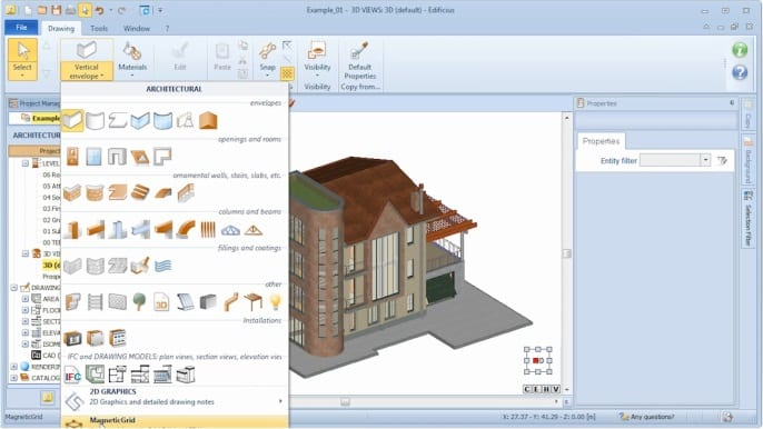 MagneticGrid selection - Edificius BIM software