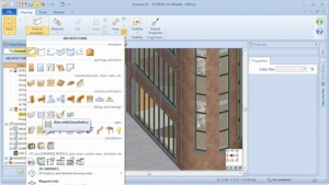 Selecting the sunscreen BIM object - Edificius BIM software