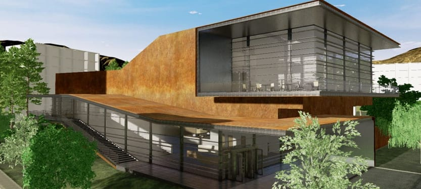 Render of the Daegu Gosan Public Library produced with Edificius