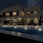 Night view of the pool_Park House_Edificius