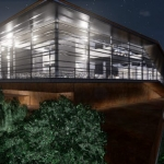 Night view with visual effect Daegu Gosan Public Library with Edificius