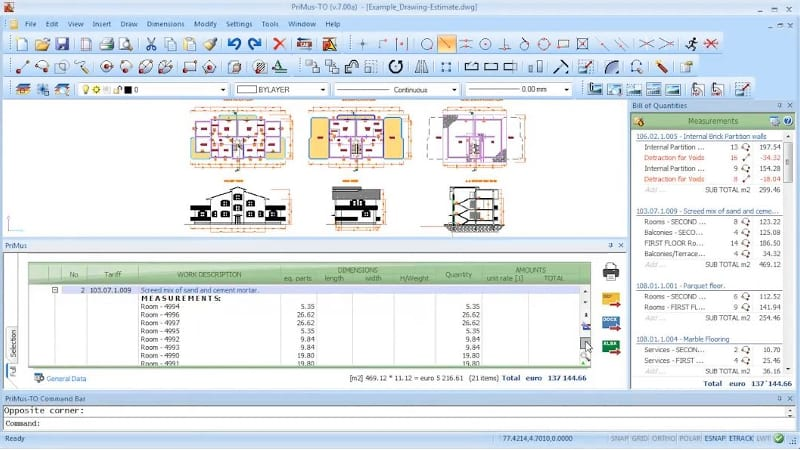 CAD interface_house rooms cost and measures_PriMus-TO