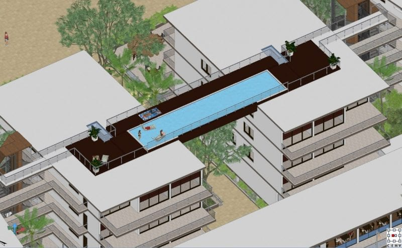 Railings and Nahil Kan swimming pool location Edificius