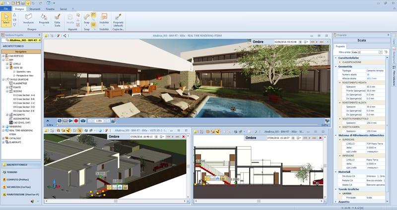 Interface of the architectural BIM software Edificius