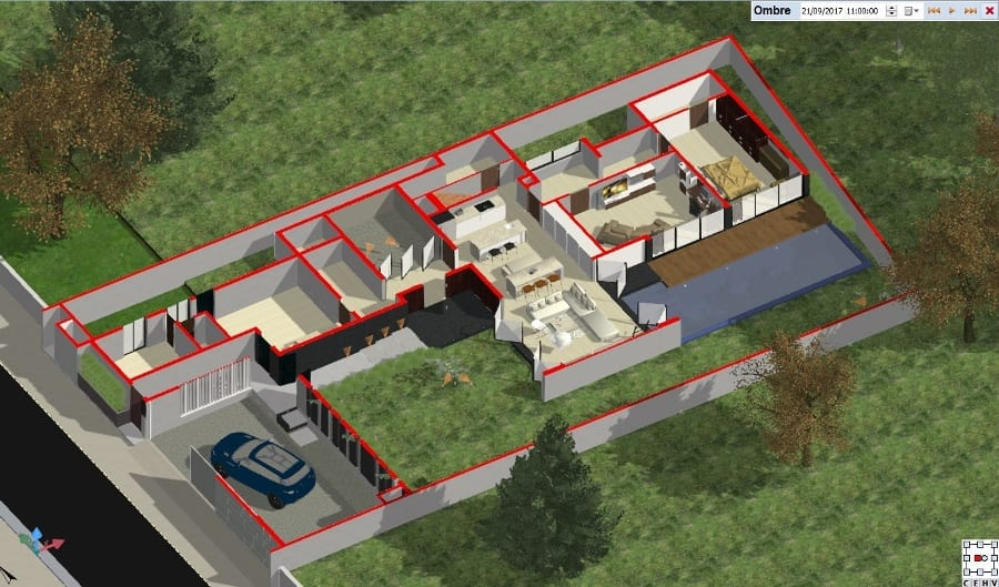 Ground floor - isometric cut-away view - BIM software Edificius