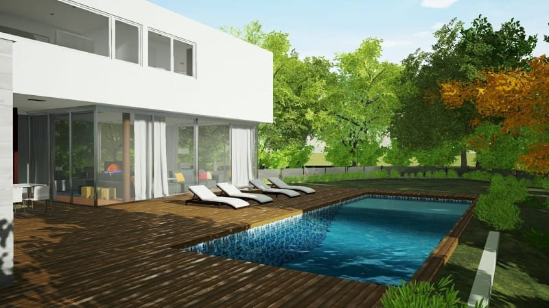 Swimming pool Render Casa-en-Los-Cisnes-software BIM Edificius