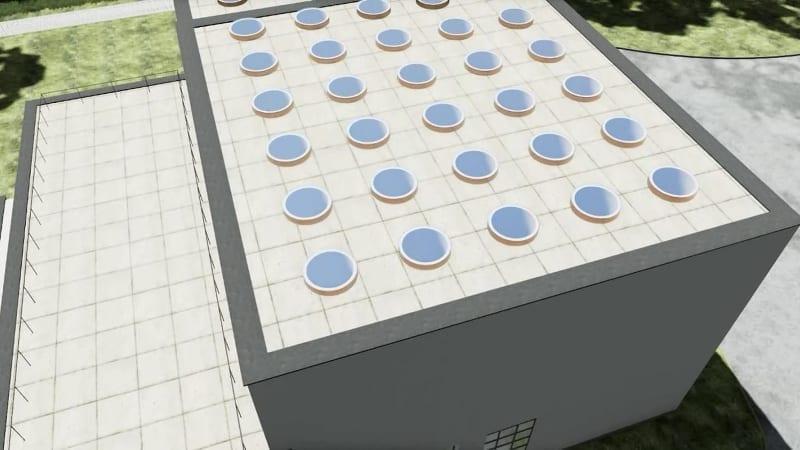 Circular conical openings – Villa Viipuri - Render-software BIM Architettura Edificius