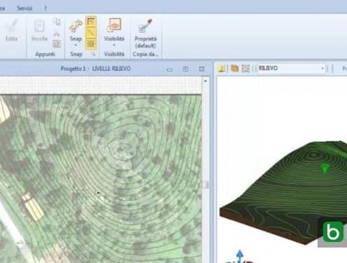 Modelling a 3D terrain with contour lines software BIM Edificius
