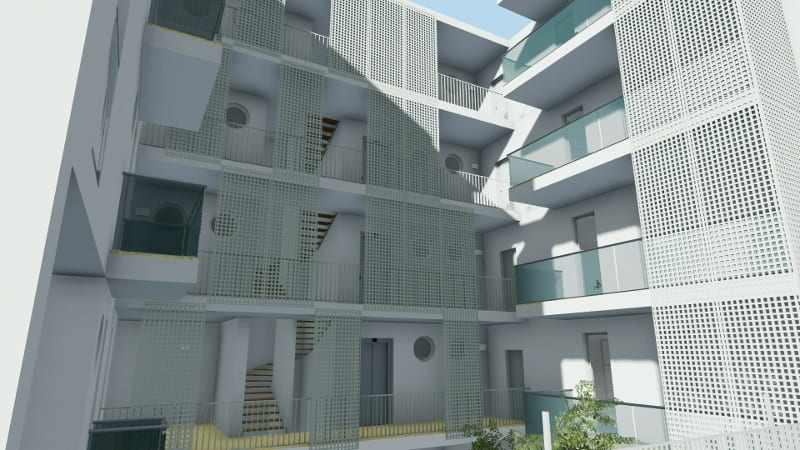Social Housing modern design example in Lecce – rendering made with Edificius