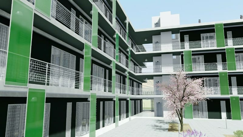 Social housing modern design example in Lleida – rendering made with Edificius