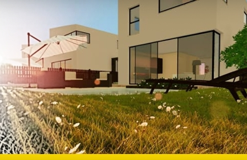 Townhouses with garden or patio Projects with examples and dwg ready for download software BIM Edificius