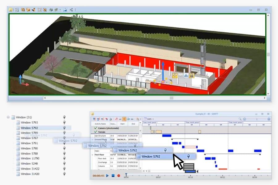 4d BIM software - BIM objects association to activities for Gantt chart creation - Edificius