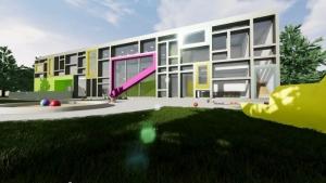 Aerial view_school-buildings-projects-Troplo-Kids_render_software-BIM-architecture_Edificius