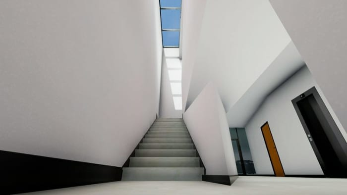 Harvey-Pediatric-Clinic_skylight-stairs_Render_Edificius_software-BIM-architecture
