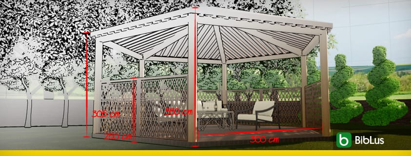 Gazebo plans and other outdoor structures: pergolas, projecting roofs and canopies design