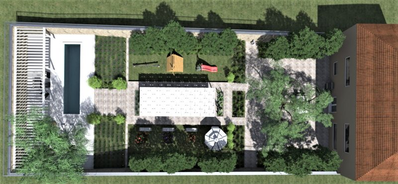 Landscape design plans- aerial rendering