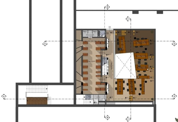 Floor plan_library building design_ software BIM architecture Edificius