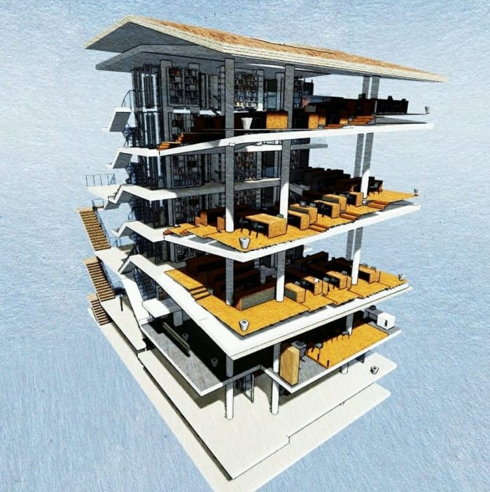 Render_panoramic draft_library building design_ software BIM architecture Edificius