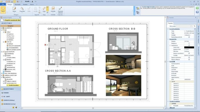 Studio apartment project - working drawing - architectural BIM sofware Edificius