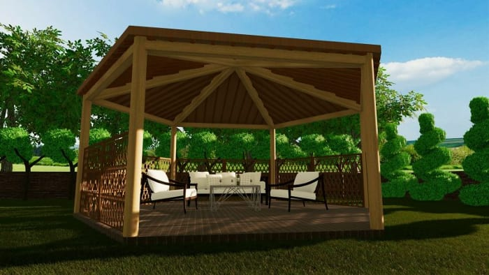 Gazebo project render- architectural BIM software, Edificius