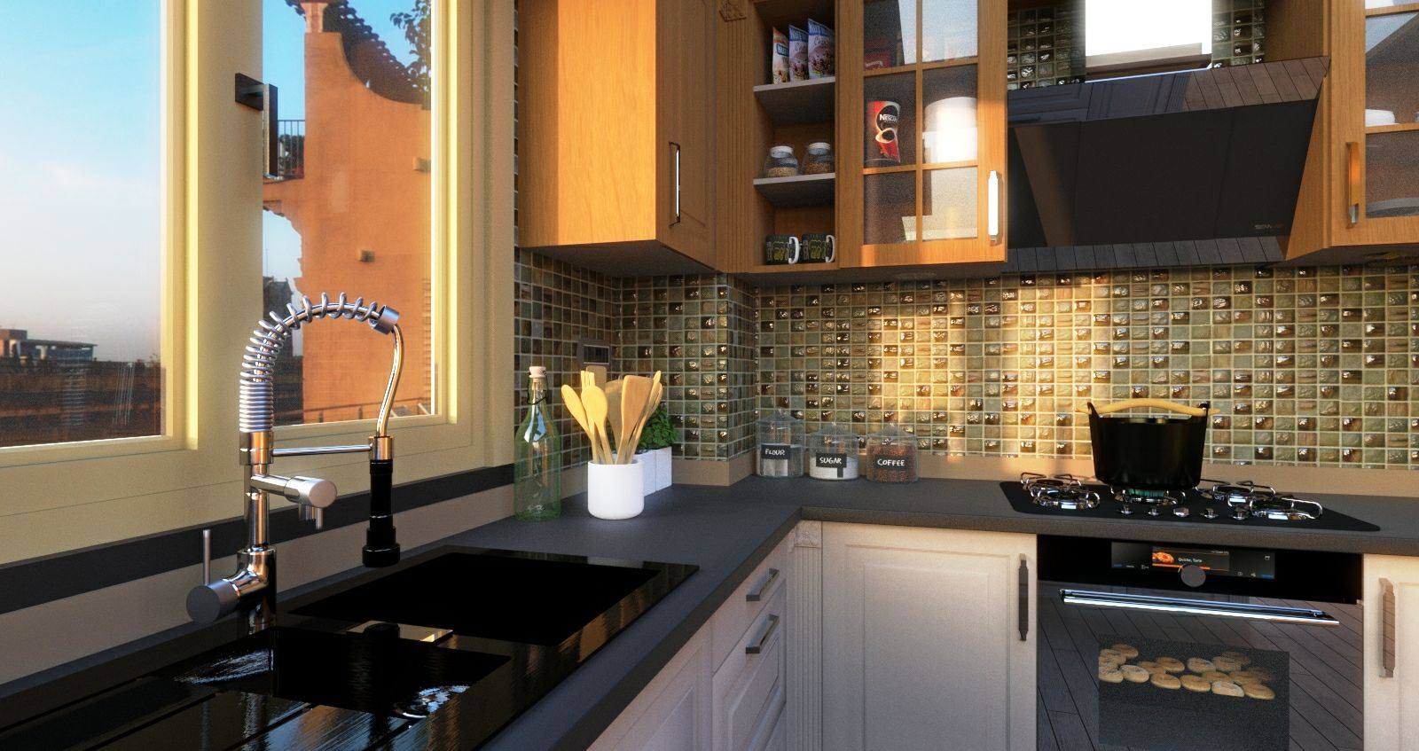 Modern kitchen_ProRender - rendering produced with Edificius, the architectural BIM design software
