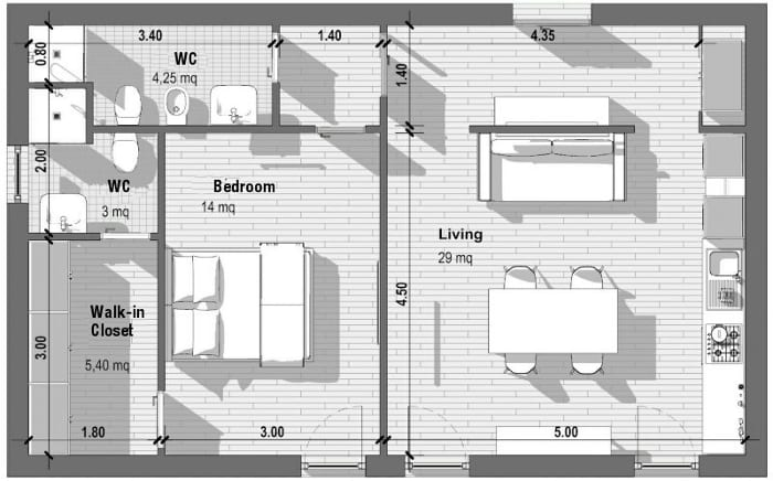 1 Bedroom Apartment Floor Plans With Standards And Examples Biblus