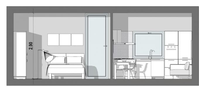 40-sqm-1bedroom-apartment-project-a-a-section-software-bim-architecture-edificius