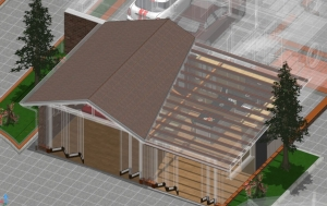 House extensions_3D_view_roof_structure_beam_gridwork_Edificius