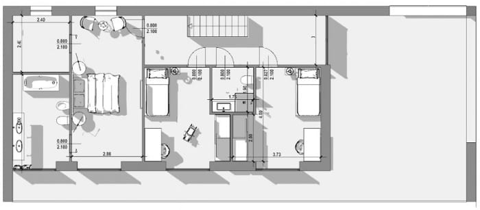 First floor plan - Single-family home project - dwg project drawing created in Edificius, the 3D architectural BIM design software
