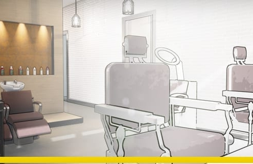 Hair salon design and plans-software-bim-architecture-edificius