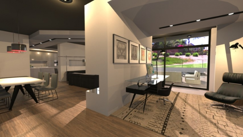 Rendering of a suspended ceiling design in the living area