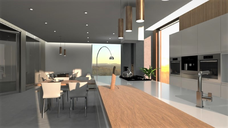 Open floor plan kitchen and living room, rendering made with Edificius