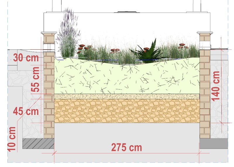 cross-section of a complex rain garden design