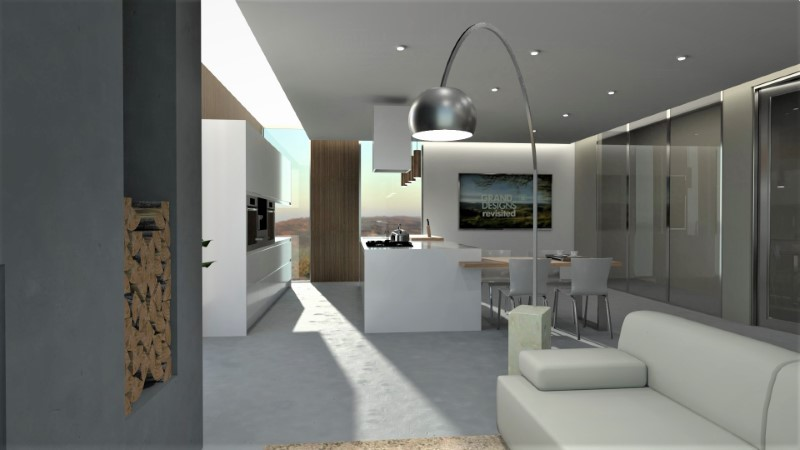 Open plan kitchen and living room rendering