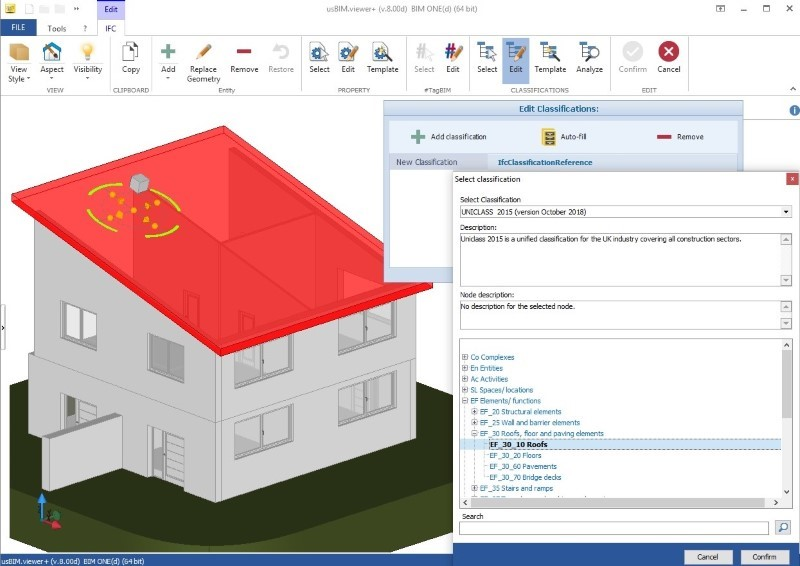 Color image showing IFC and building classification systems and an example of UniClass 2015 classification with usBIM.view +