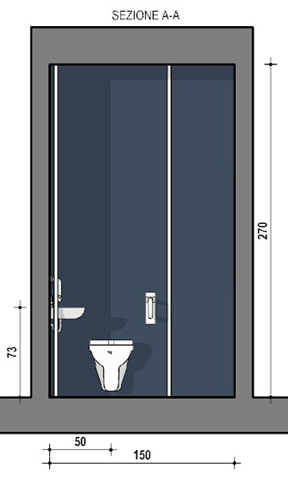 Accessible toilet AA cross-section